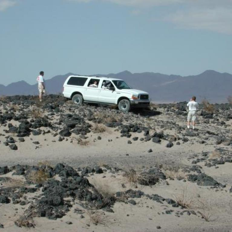 We went off-roading across a lava field to get to Amboy crater.