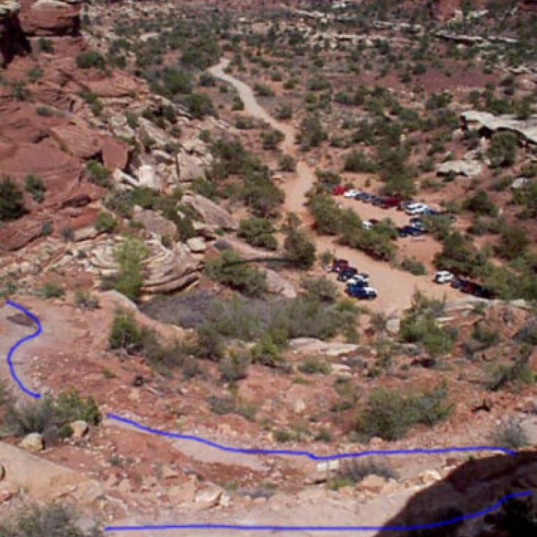 This image has the 'road' (and I use the term loosely) highlighted in blue on it that climbs up from the nice level parking lot to the top of Elephant Hill. Looking at the pictures just doesn't seem to do it justice though.