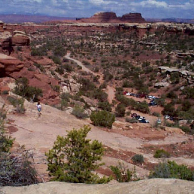 This is a view from near the top of the Elephant Hill ascent, Barb looks out over the scene. You can see the parking area at the base of the Hill, and the easy dirt road that we came to the Hill from, as well as some beautiful Canyonlands scenery.