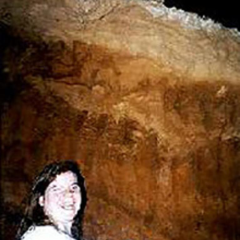 Although bats have not inhabited Slaughter Canyon Cave for 17,000 years, the thick layers of guano (bad droppings and remains) indicate that a large colony lived there for thousands of years. Barbara (5' tall) for scale.