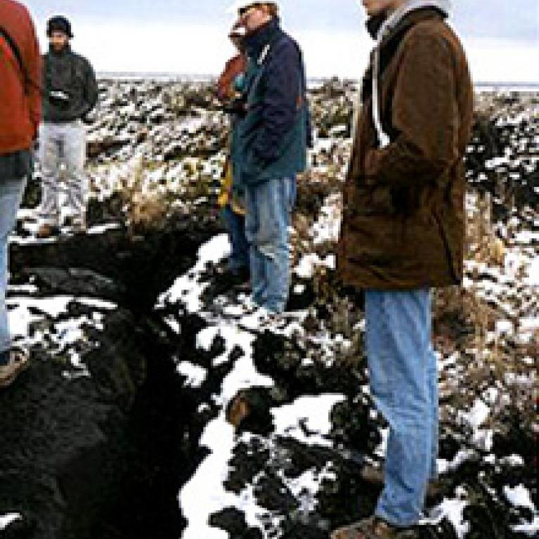 We thought the white snow against the black lava was a stunning study in contrasts. Will, Pete, Vladimir and Joe stand on the edge of a top-layer lava crack.
