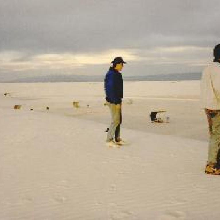 Mark and Jon look out onto the futuristic picnic tables of White Sands.