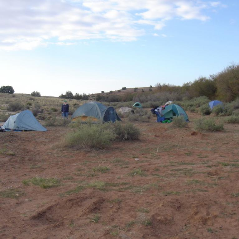 Making camp before sunset -- this is atypical from usual fieldtrip expeditions.