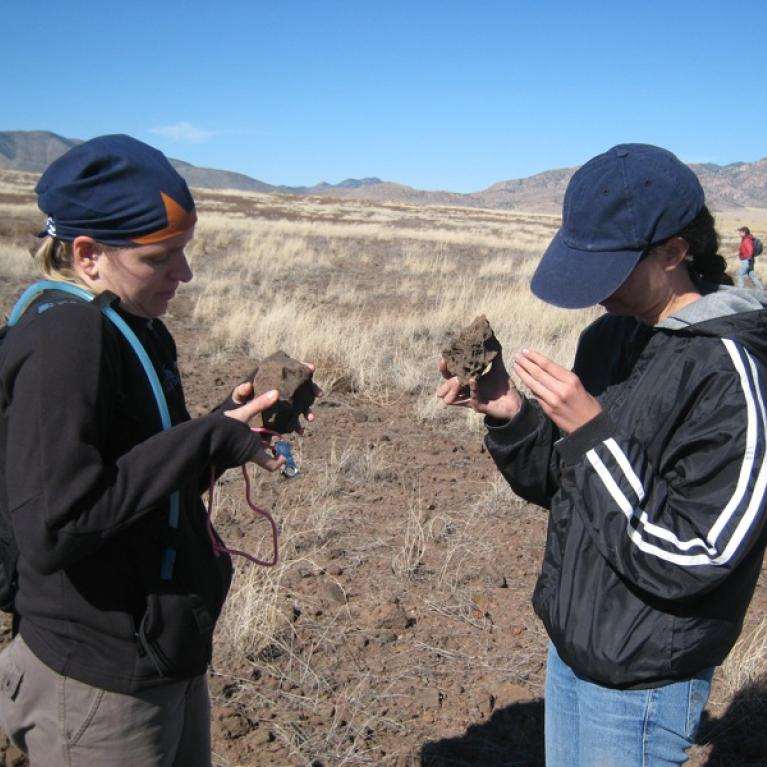 Searching for mantle nodules at a field site in the volcanic field.