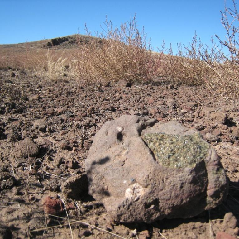 Mantle nodule with its presumed origin in the background.