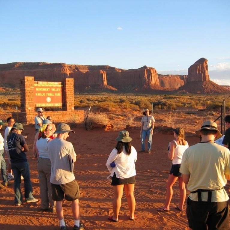 We also discussed the mesas and buttes in Monument Valley.