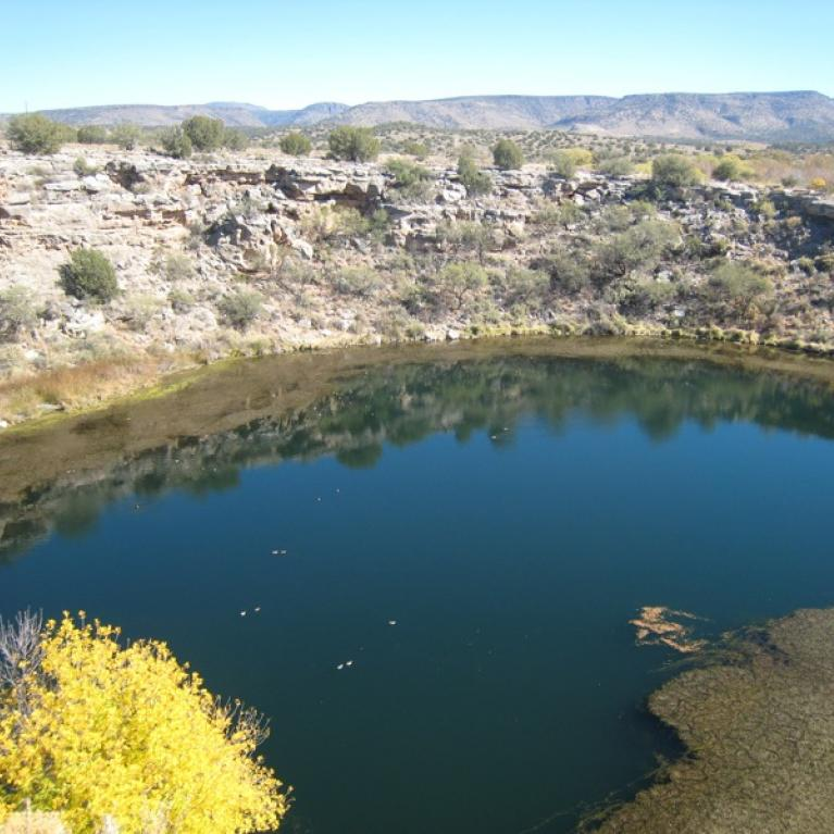 We examined Montezuma's Well, a karst sinkhole situated between Phoenix and Flagstaff.