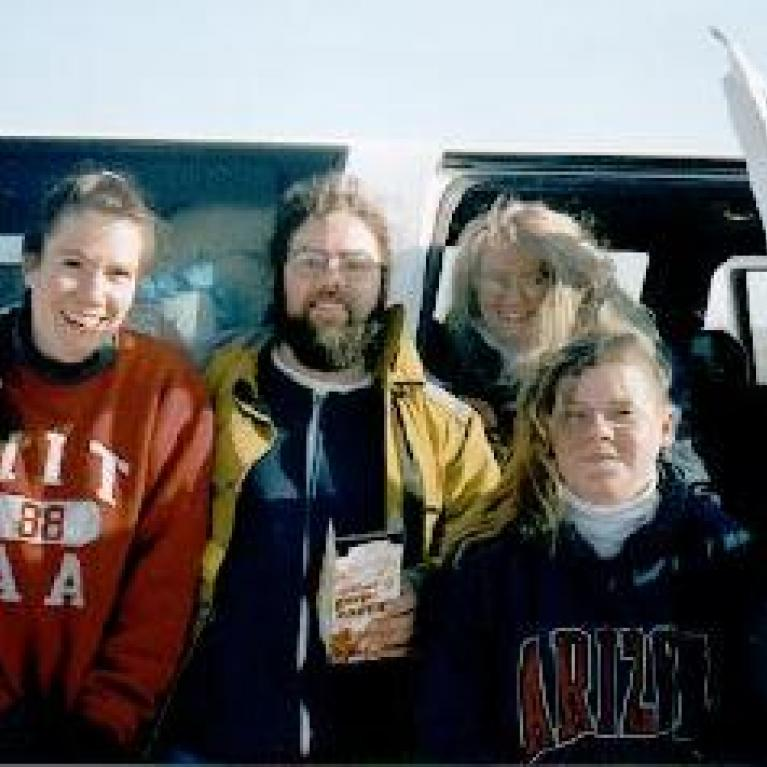 Zibi, Andy, Jen, and Barb show off their camping morning hair.