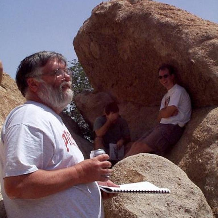 """The always-popular subject of spheroidal weathering was reviewed by Ross. The route of I-10 passes through some spectacular examples of this around Texas Canyon. Alas, we did not stop at the nearby """"Thing."""""""