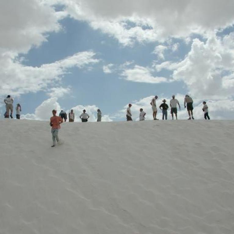 "We stopped at the ""Heart of the Dunes"" vista in the White Sands National Monument. These white dunes are very different from those we're used to seeing on fieldtrips into Mexico and California. White Sands contains small, soft particles of gypsum (hydrated calcium sulphate) instead of the large, rough quartz crystals of our usual dunes. Fred compared these dunes to martian dunes. Then we all played in the sand!"