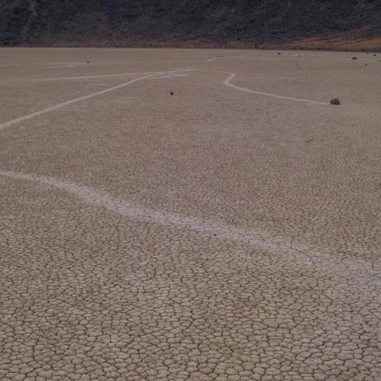 Out at Racetrack Playa, we explored some of its infamous moving rocks.