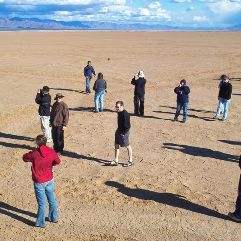 Day 1. We explore Red Lake Playa just northwest of Kingman, AZ, and find some giant dessication cracks on the playa floor.