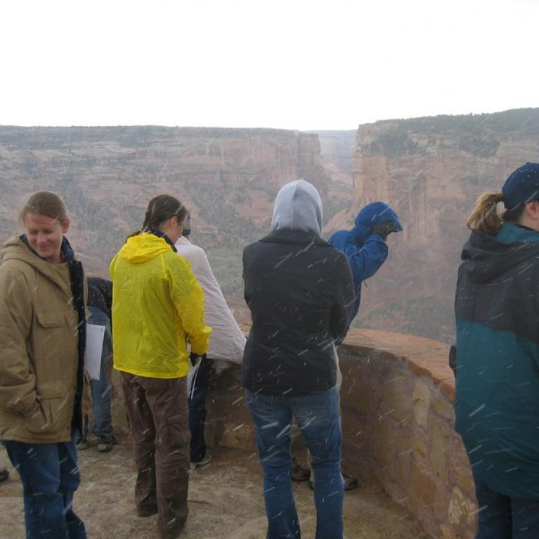As we arrived at Canyon de Chelly to discuss how it was formed by groundwater flow, we unfortunately got snowed on.
