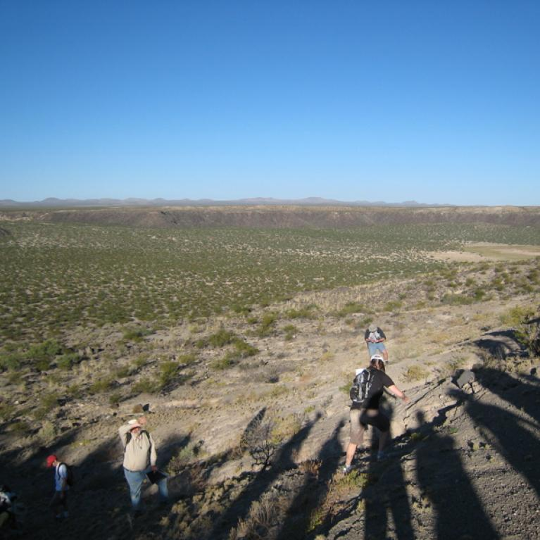 We camped overnight at Kilbourne Hole, and got up early the next morning to talk about the maar volcanism at the site.