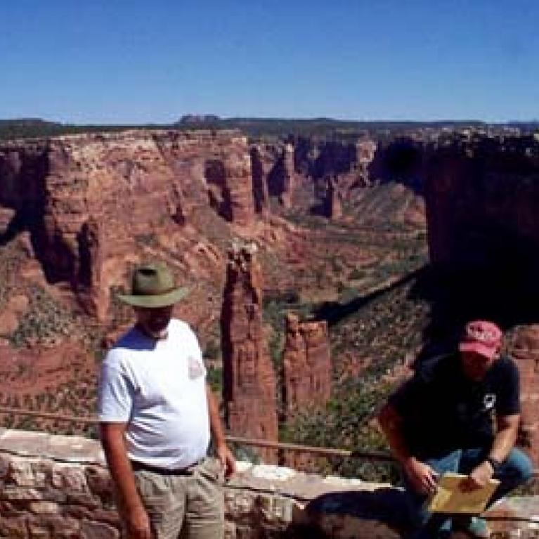 Peter Smith and Jim Rice hang out at the overlook point for Spider Rock.