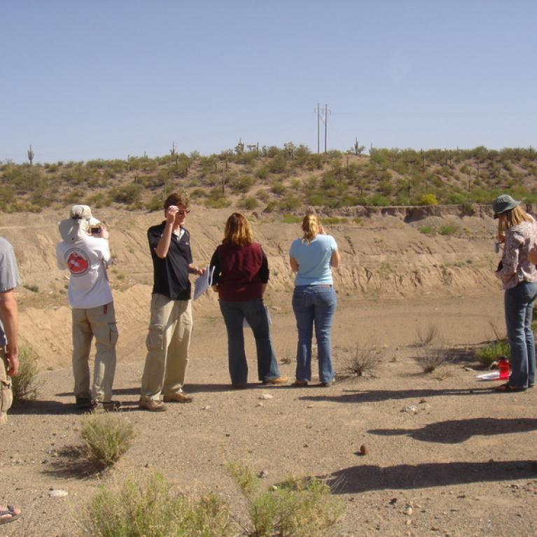 Mike Bland describing stream terraces.