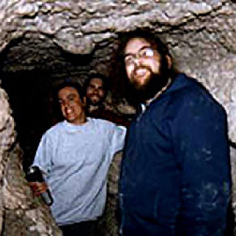 We camped on National Park land in the Guadalupes, near a tiny, winding cave passage. A few people successfully navigated the cave, including Nancy, Pete, and Andy (with Eric behind the camera). What a good flash can do for your cave pictures.