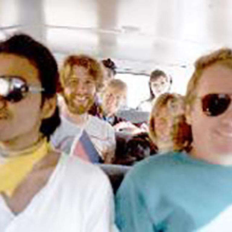 """The denizens of the """"voodoo van"""": Goro, Don, Kevin, Steffi, Val, Mark, and Kim."""