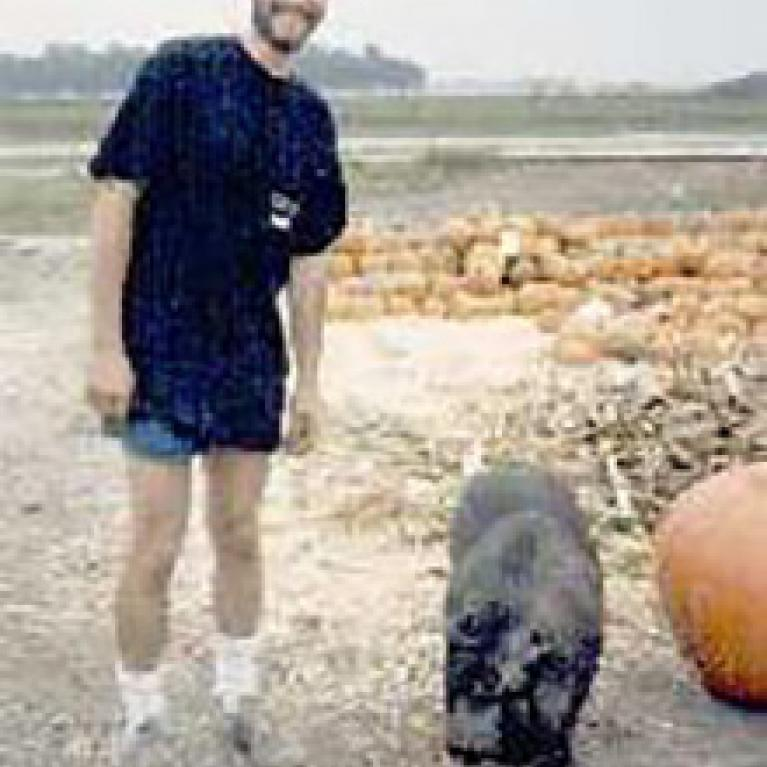 """Will visits with a farmstand pig (""""here, have this...pineapple!)."""