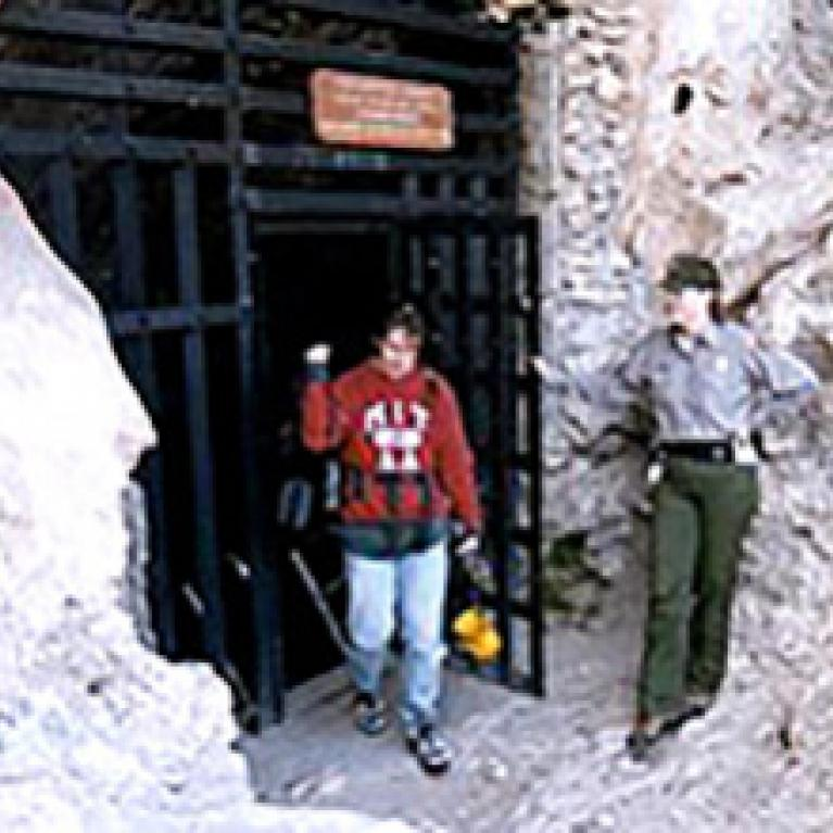Zibi and our ranger leave the cave entrance.