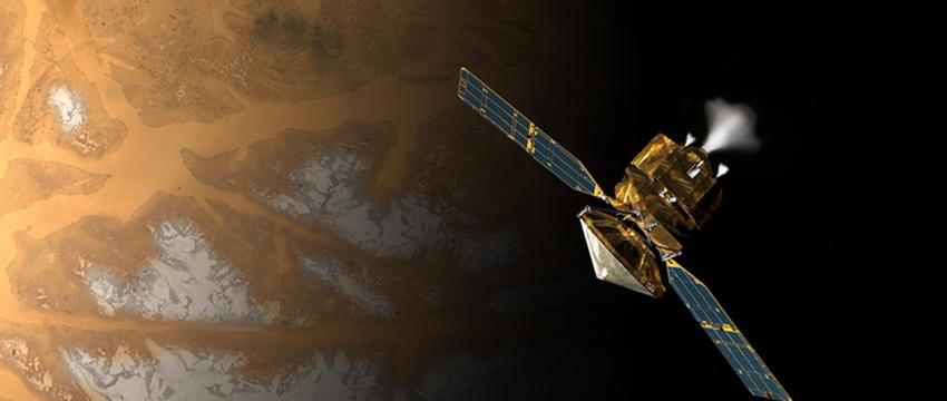 NASA's Mars Reconnaissance Orbiter shortly before swinging into orbit around Mars ten years ago. (NASA/JPL-Caltech)
