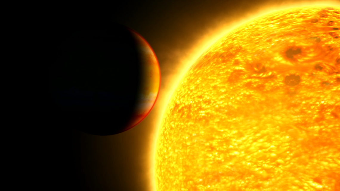 This illustration captures an exoplanet as it is about to cross in front of – or transit – its star. By analyzing light from the star through the planet's atmosphere, scientists can gather clues about its composition. NASA's Goddard Space Flight Center