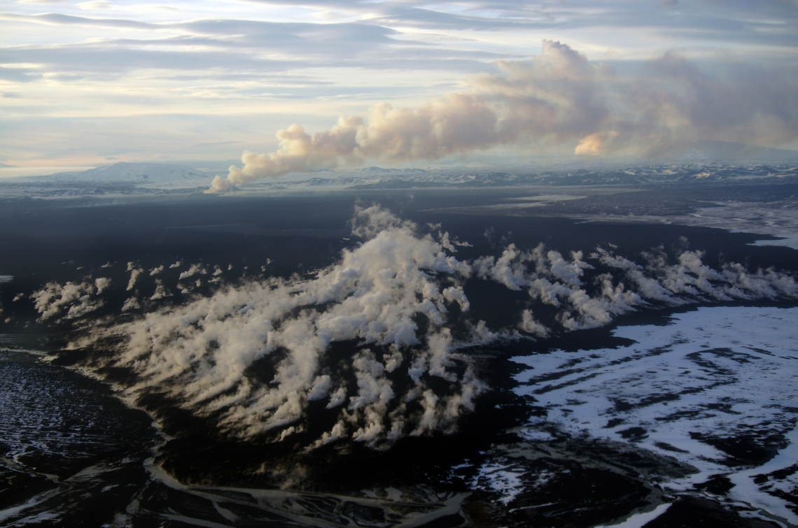 """Created by an eruption five years ago, the Holuhraun lava flow field in Iceland is some of the newest """"real estate"""" in the world where Christopher Hamilton and his team are testing new ways for drones and rovers to work together to explore Mars."""