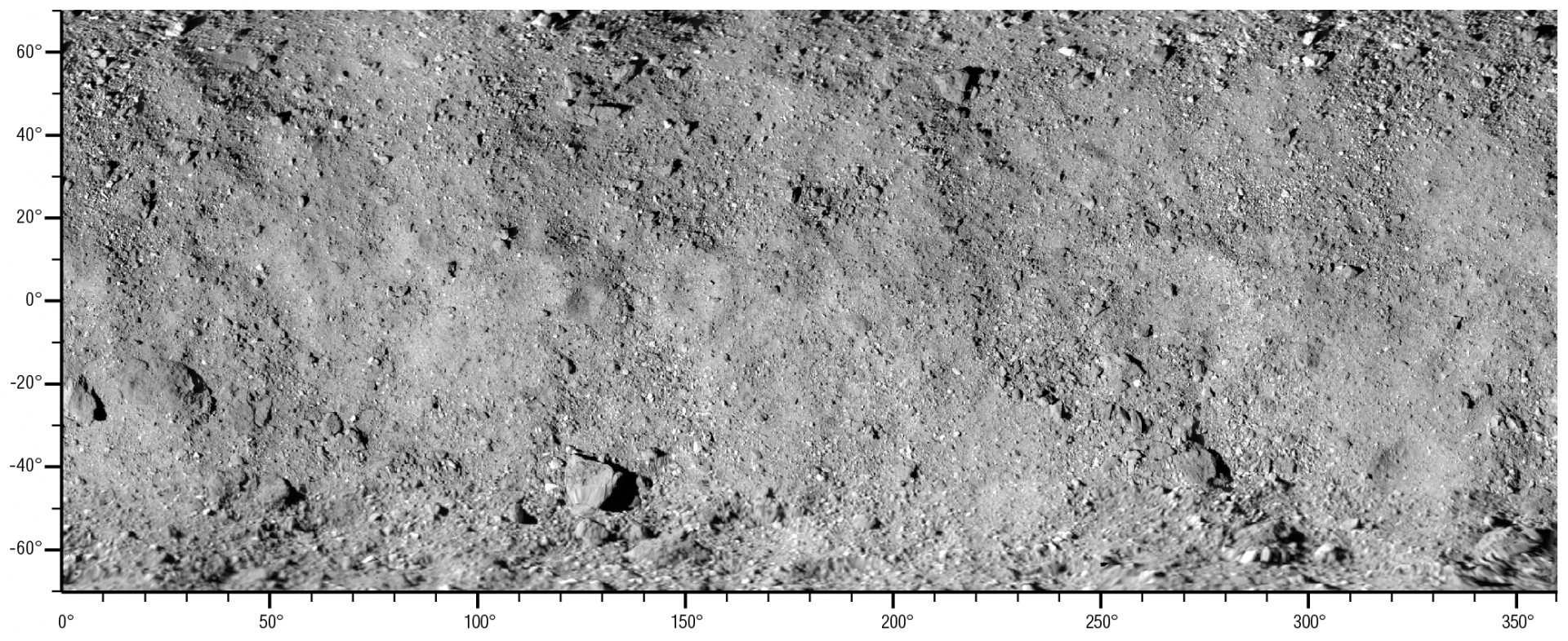 This global map of asteroid Bennu's surface is a mosaic of images collected during OSIRIS-REx's Preliminary Survey phase using the spacecraft's long-range PolyCam camera. Latitude and longitude measurements are shown along the sides of the mosaic.NASA/Goddard/University of Arizona