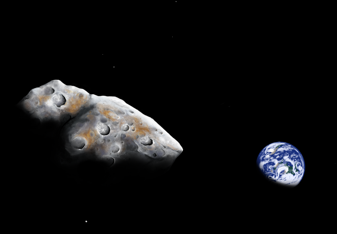 An artist impression of a close flyby of the metal-rich near-Earth asteroid 1986 DA. Astronomers using the NASA Infrared Telescope Facility have confirmed that the asteroid is made of 85% metal. Addy Graham/University of Arizona