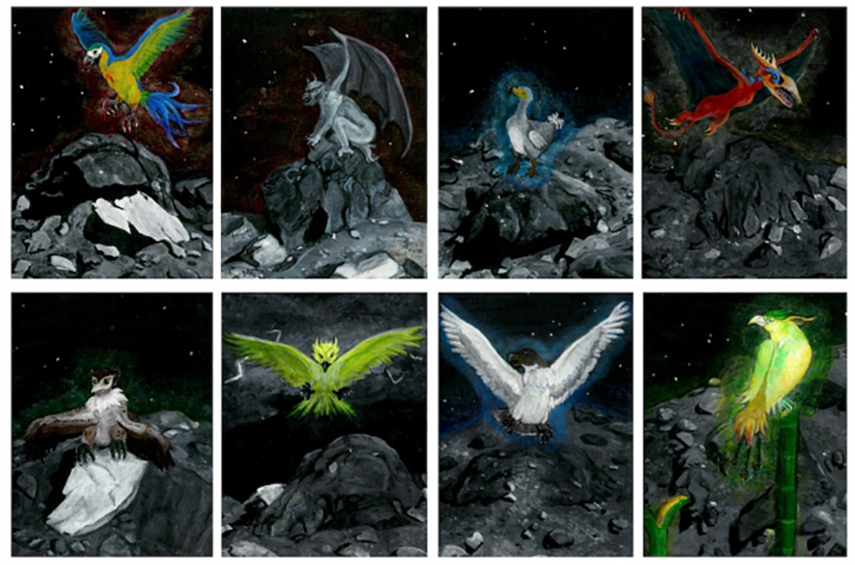 Zoe Zeszut painted mythological birds perched on the Bennu features that carry their names.