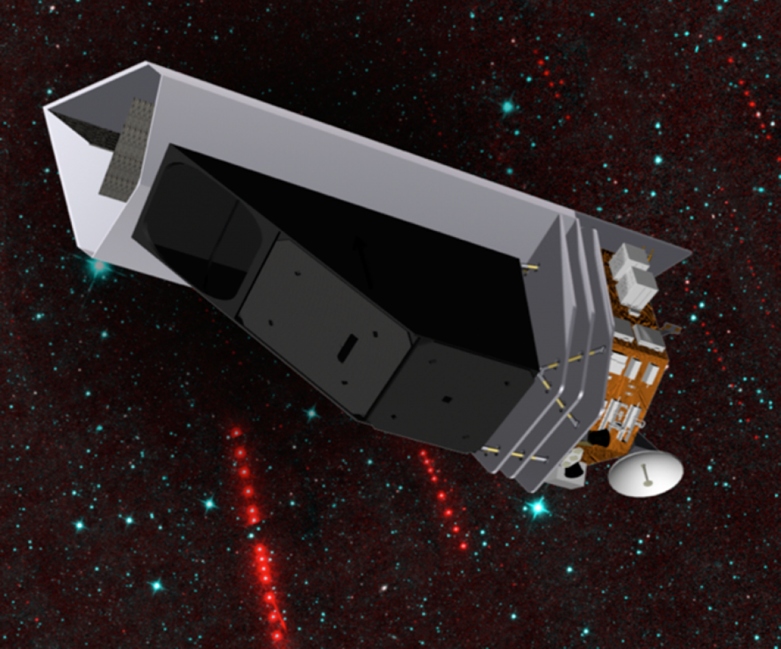 The NEO Surveyor infrared space telescope is optimized for finding, tracking and characterizing potentially hazardous asteroids and comets. The spacecraft's sunshade (silver vertical part) blocks out sunlight and keeps the telescope shielded so that it can search for the faint heat signatures from Earth-approaching objects. The asteroids will appear as strings of dots (color-coded red in the background image) that will stand out against the background stars (color-coded blue). NASA/JPL