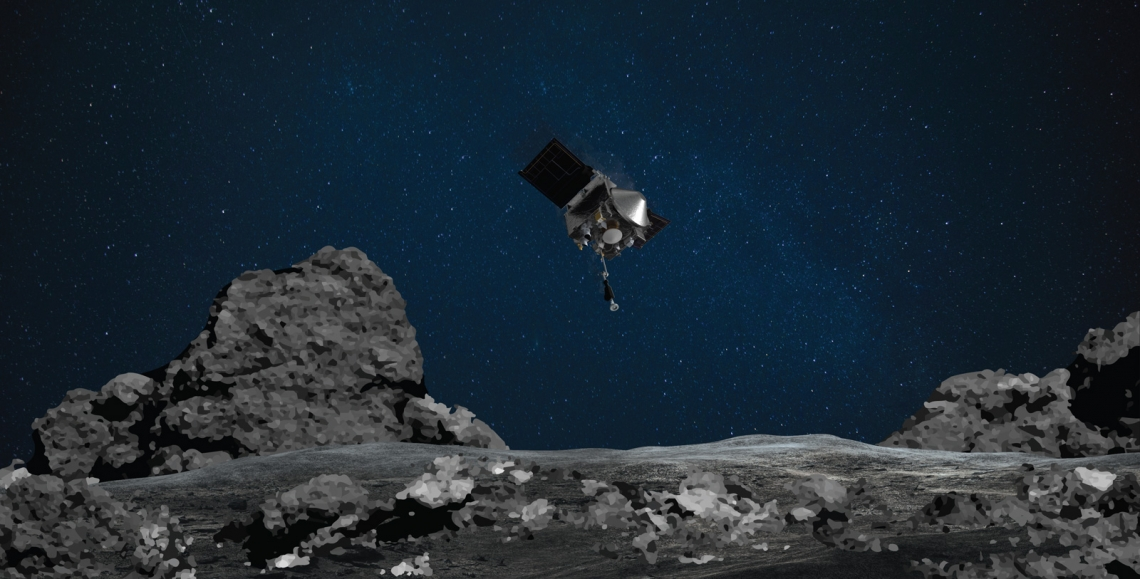 This artist's rendering shows the descending OSIRIS-REx spacecraft as it would have looked like to an observer standing on the surface of asteroid Bennu during the matchpoint rehearsal.NASA/Goddard/University of Arizona