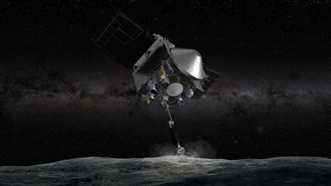 The OSIRIS-REx spacecraft, depicted in an artist rendering, uses its Touch-And-Go Sample Acquisition Mechanism to touch the surface of the asteroid Bennu to collect a sample. A new gift will help the OSIRIS-REx team purchase a tool to examine the sample when it returns to Earth in 2023.
