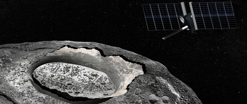 An artist's concept of the Psyche spacecraft, a proposed mission for NASA's Discovery program that would explore the huge metal Psyche asteroid from orbit (Credit: NASA/JPL-Caltech)