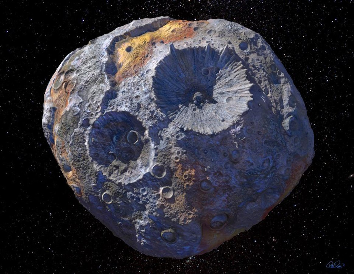 An artist's rendering of the asteroid Psyche. (Image: ASU/Peter Rubin/CC-BY-SA-4.0)