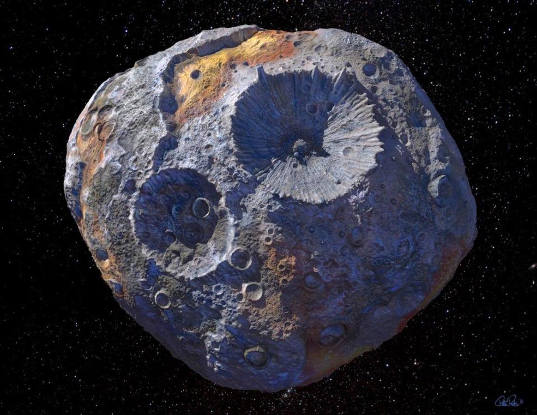 An artist's concept of asteroid 16 Psyche. Maxar/ASU/P.Rubin/NASA/JPL-Caltech