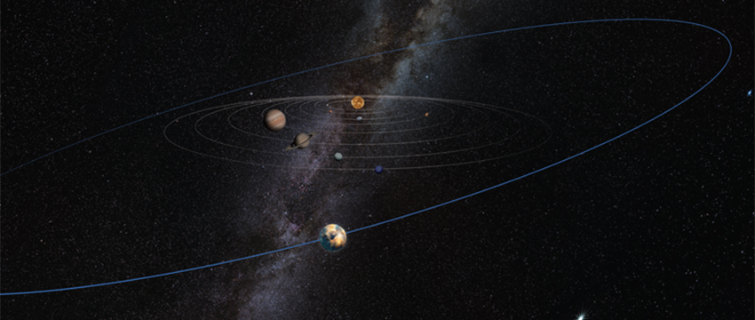 """A yet to be discovered, unseen """"planetary mass object"""" makes its existence known by ruffling the orbital plane of distant Kuiper Belt objects, according to research by Kat Volk and Renu Malhotra of the UA's Lunar and Planetary Laboratory. The object is pictured on a wide orbit far beyond Pluto in this artist's illustration. (Image: Heather Roper/LPL)"""