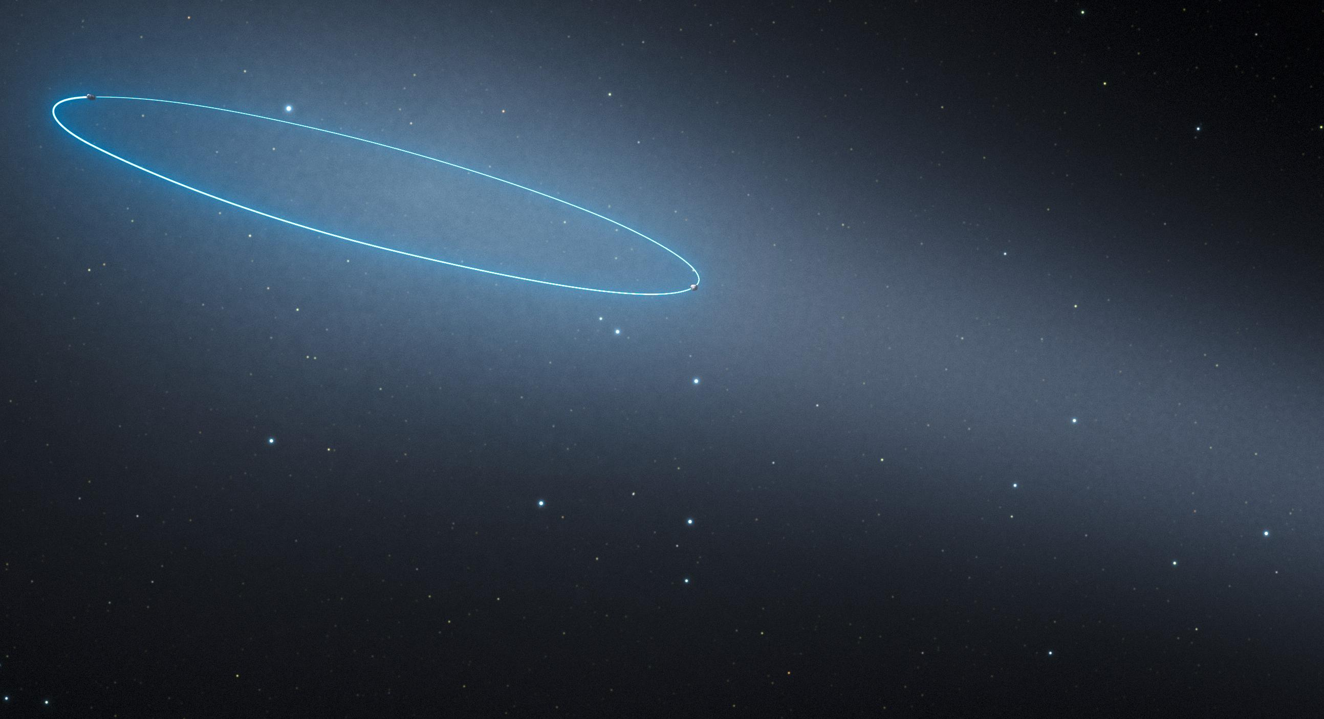 This artist's impression shows the binary asteroid 288P, located in the main asteroid belt between the planets Mars and Jupiter. The object is unique as it is a binary asteroid that also behaves like a comet. The cometlike properties are the result of water sublimation, caused by the heat of the sun. The orbit of the asteroids is marked by a blue ellipse. (Image: ESA/Hubble, L. Calçada)