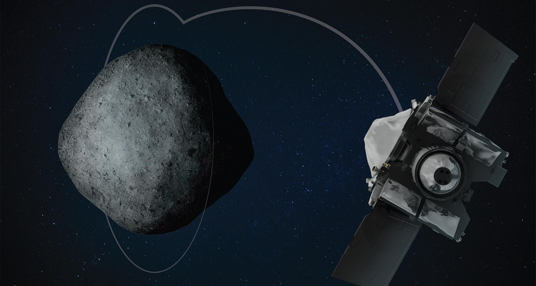 OSIRIS-REx at Bennu (Image: Heather Roper/University of Arizona)
