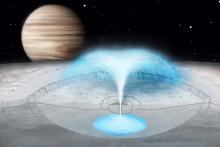 This artist's conception of Jupiter's icy moon Europa shows a hypothesized cryovolcanic eruption