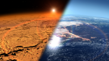 This artist's concept depicts the early Martian environment (right) – believed to contain liquid water and a thicker atmosphere – versus the cold, dry environment seen at Mars today (left).NASA's Goddard Space Flight Center