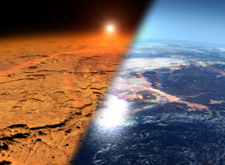 This artist's concept depicts the early Martian environment (right) – believed to contain liquid water and a thicker atmosphere – versus the cold, dry environment seen at Mars today (left). NASA's Goddard Space Flight Center