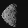 This image, showing asteroid Bennu's spinning-top shape, was taken by the MapCam camera on NASA's OSIRIS-REx spacecraft on April 29, from a distance of 5 miles. From the spacecraft's vantage point, half of Bennu is sunlit and half is in shadow. (Credit: NASA/Goddard/University of Arizona) Credit: NASA/Goddard/University of Arizona