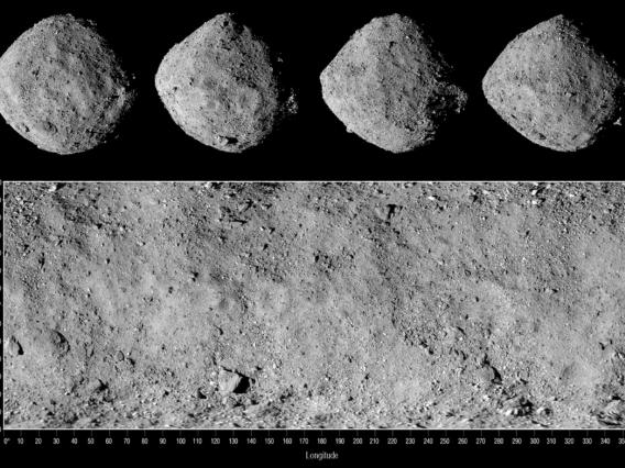 Image shows four views of asteroid Bennu along with a corresponding global mosaic. Images were taken on Dec. 2, 2018, by the OSIRIS-REx spacecraft's PolyCam camera, which is part of the OCAMS instrument suite designed by UArizona scientists and engineers.
