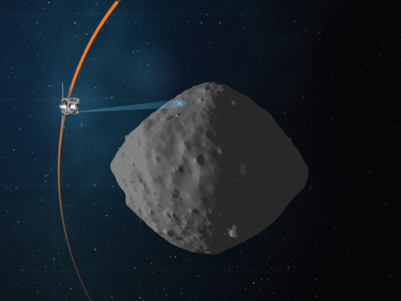 This artist's concept shows the planned flight path of NASA's OSIRIS-REx spacecraft during its final flyby of asteroid Bennu, which is scheduled for April 7.NASA/Goddard/University of Arizona