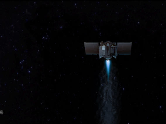 This artist's concept shows the OSIRIS-REx spacecraft departing asteroid Bennu to begin its two-year journey back to Earth.