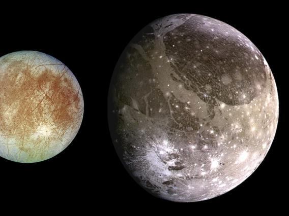 The four largest moons of Jupiter in order of distance from Jupiter: Io, Europa, Ganymede, Callisto