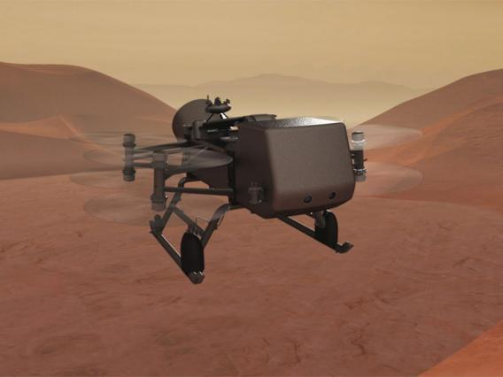 Artist rendition of the Dragonfly drone on Saturn's moon Titan.