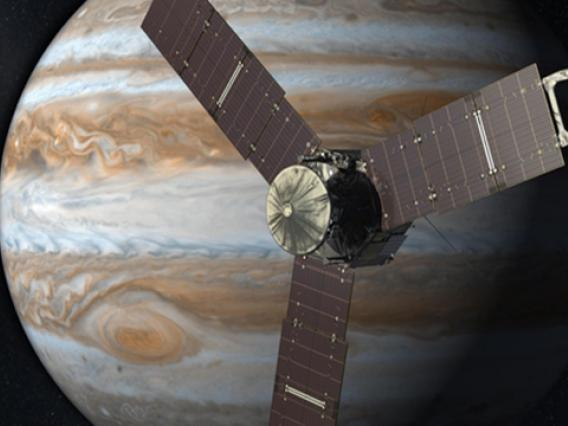 With its suite of science instruments, Juno will investigate the existence of a solid planetary core, map Jupiter's intense magnetic field, measure the amount of water and ammonia in the deep atmosphere, and observe the planet's auroras. Juno's principal goal is to understand the origin and evolution of Jupiter. (Artist's concept: NASA/JPL)