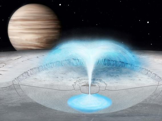 This artist's conception of Jupiter's icy moon Europa shows a hypothesized cryovolcanic eruption, in which briny water from within the icy shell blasts into space. A new model of this process on Europa may also explain plumes on other icy bodies. Justice Blaine Wainwright
